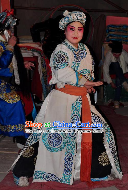 Loyal To Imperial Family Chinese Bangzi Opera Takefu Apparels Costumes and Headpieces Traditional Shanxi Clapper Opera Wusheng Garment Martial Male Clothing