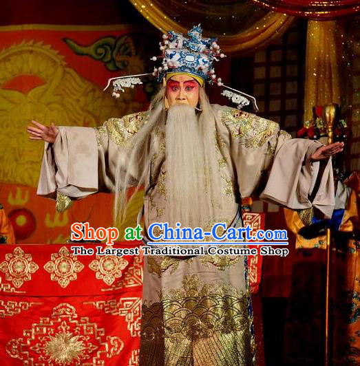 Loyal To Imperial Family Chinese Bangzi Opera Official Wang Yanling Apparels Costumes and Headpieces Traditional Shanxi Clapper Opera Laosheng Garment Clothing