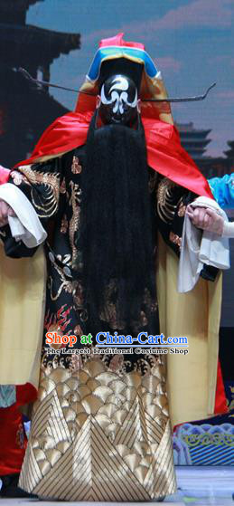 Loyal To Imperial Family Chinese Bangzi Opera Official Bao Zheng Apparels Costumes and Headpieces Traditional Shanxi Clapper Opera Jing Role Garment Clothing