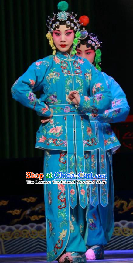 Chinese Shanxi Clapper Opera Martial Female Garment Costumes and Headdress Women General of Yang Family Traditional Bangzi Opera Wudan Blue Dress Apparels