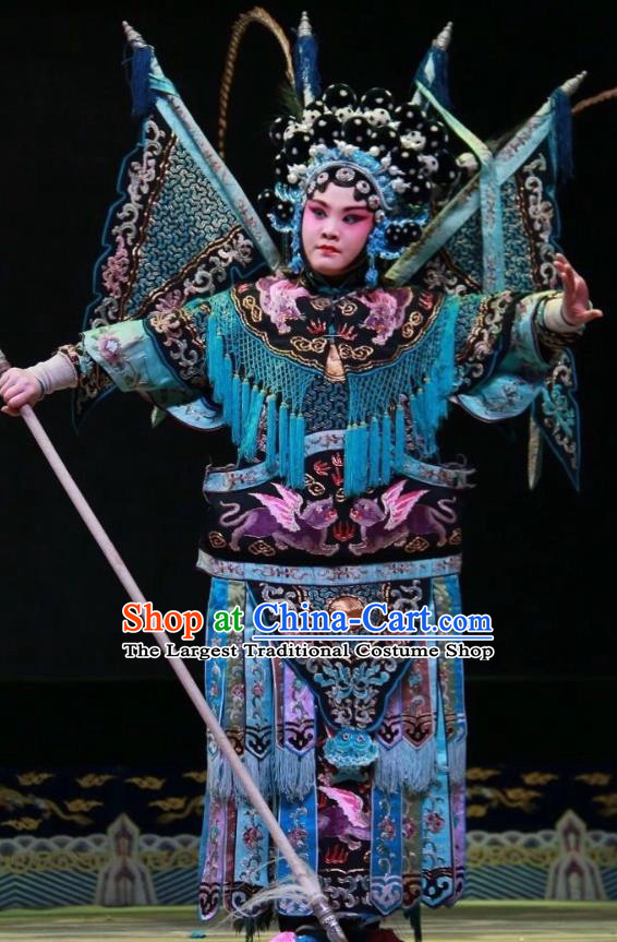 Chinese Shanxi Clapper Opera Tao Ma Tan Garment Costumes and Headdress Women General of Yang Family Traditional Bangzi Opera Martial Female Mu Guiying Dress Apparels