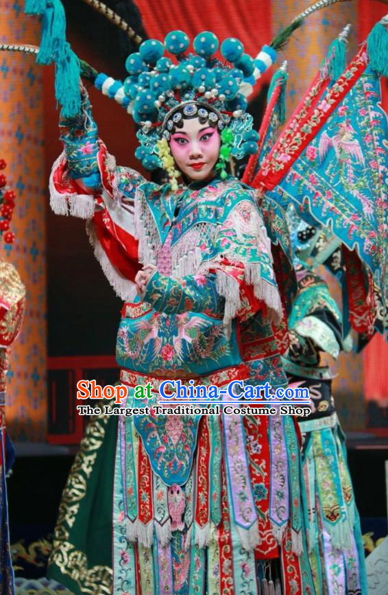 Chinese Shanxi Clapper Opera Mu Guiying Red Garment Costumes and Headdress Women General of Yang Family Traditional Bangzi Opera Tao Ma Tan Dress Apparels with Flags