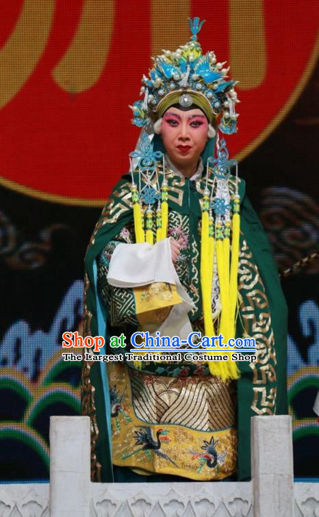 Chinese Shanxi Clapper Opera Dame Garment Costumes and Headdress Women General of Yang Family Traditional Bangzi Opera Pantaloon She Saihua Dress Apparels