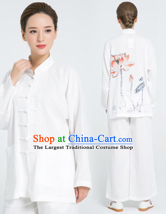 Professional Chinese Hand Painting Lotus Tai Chi White Flax Blouse and Pants Outfits Martial Arts Shaolin Gongfu Costumes Kung Fu Training Garment for Women