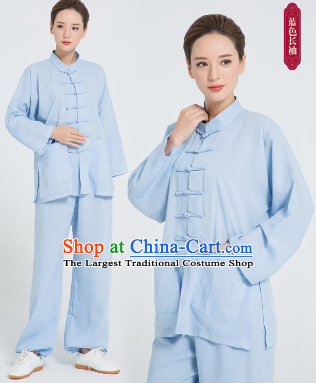 Professional Chinese Hand Painting Lotus Tai Chi Blue Flax Blouse and Pants Outfits Martial Arts Shaolin Gongfu Costumes Kung Fu Training Garment for Women