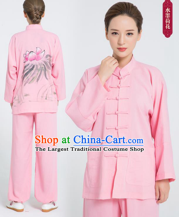 Professional Chinese Hand Painting Lotus Tai Chi Pink Flax Blouse and Pants Outfits Martial Arts Shaolin Gongfu Costumes Kung Fu Training Garment for Women