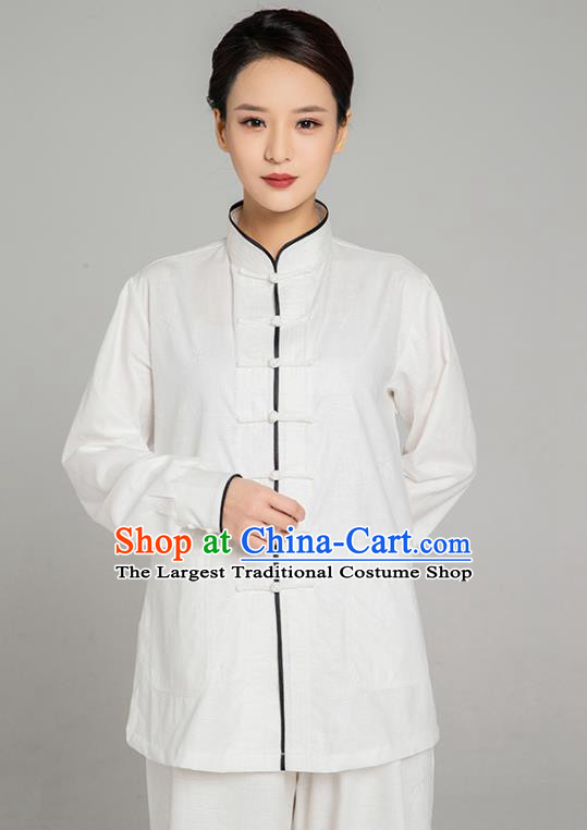 Top Grade Chinese Tai Ji Training White Linen Uniforms Kung Fu Martial Arts Costume Shaolin Gongfu Blouse and Pants for Men