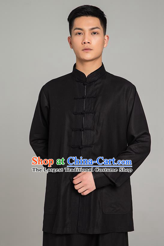 Top Grade Chinese Tai Ji Training Black Linen Uniforms Kung Fu Martial Arts Costume Shaolin Gongfu Blouse and Pants for Men