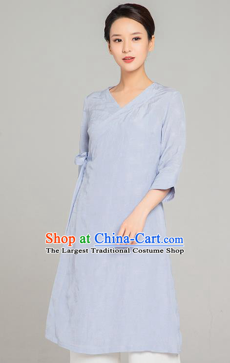 Asian Chinese Traditional Tang Suit Light Blue Flax Blouse Martial Arts Costumes China Kung Fu Upper Outer Garment Dress for Women