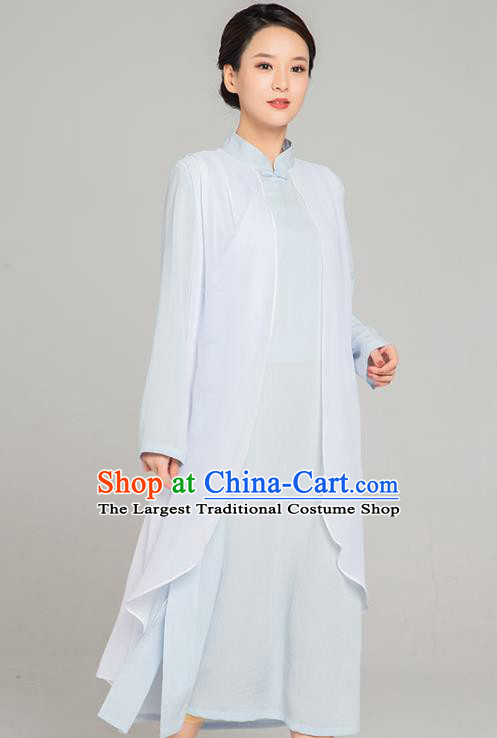 Asian Chinese Traditional Tang Suit Chiffon Cloak Light Blue Dress Martial Arts Costumes China Kung Fu Garment for Women