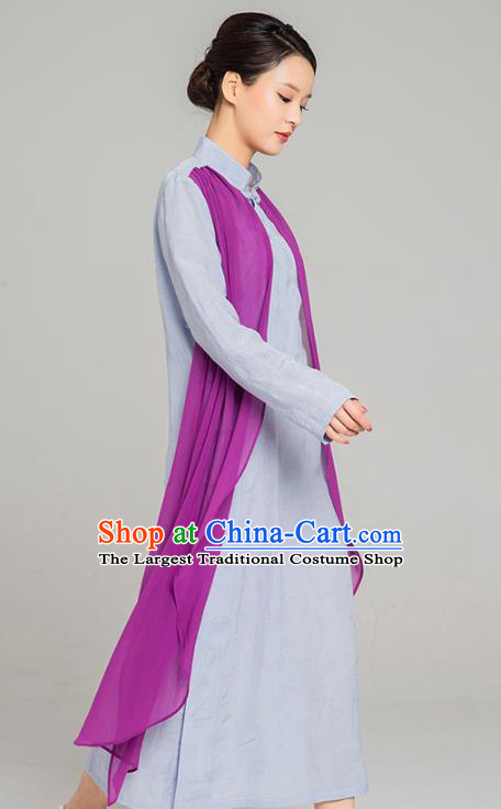 Asian Chinese Traditional Tang Suit Purple Chiffon Cloak Light Blue Dress Martial Arts Costumes China Kung Fu Garment for Women