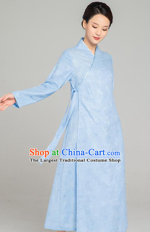 Asian Chinese Traditional Jacquard Maple Leaf Blue Flax Dress Martial Arts Costumes China Kung Fu Robe Garment for Women