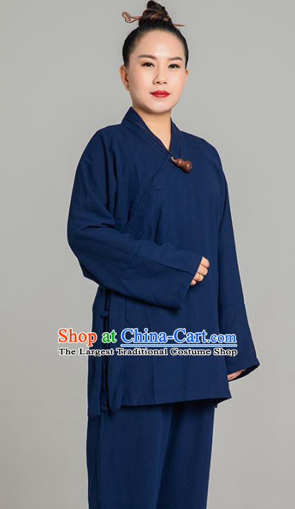Asian Chinese Traditional Taoist Nun Navy Flax Blouse and Pants Martial Arts Costumes China Kung Fu Garment Outfits for Women