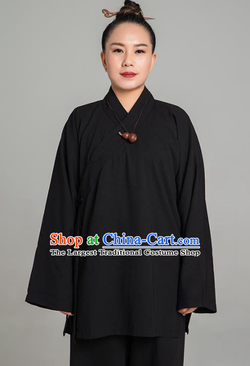 Asian Chinese Traditional Taoist Nun Black Flax Blouse and Pants Martial Arts Costumes China Kung Fu Garment Outfits for Women