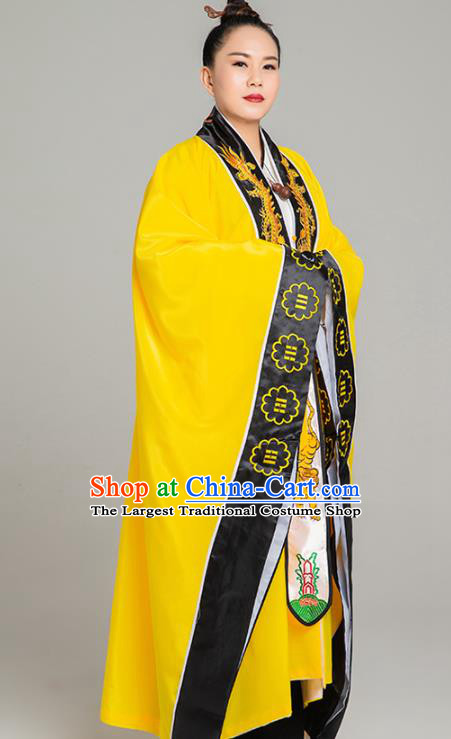 Traditional Chinese Taoism Yellow Koshibo Priest Frock Martial Arts Costumes China Taoist Nun Garment Embroidered Dragon Tai Chi Gown for Women