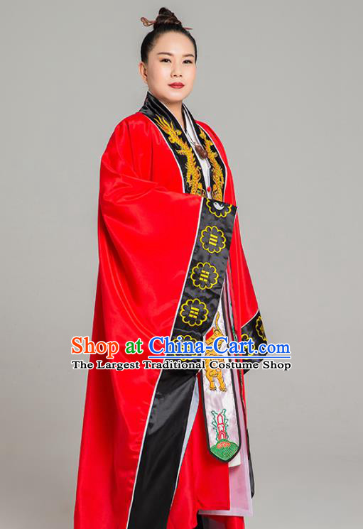 Traditional Chinese Taoism Red Koshibo Priest Frock Martial Arts Costumes China Taoist Nun Garment Embroidered Dragon Tai Chi Gown for Women