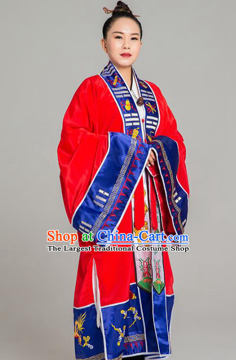 Traditional Chinese Taoist Nun Red Koshibo Priest Frock Martial Arts Costumes China Taoism Tai Chi Garment Embroidered Pagoda Gown for Women