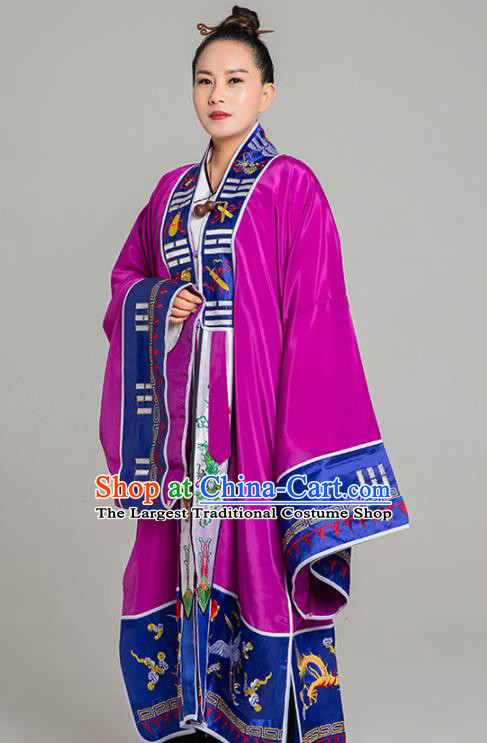 Traditional Chinese Taoist Nun Purple Koshibo Priest Frock Martial Arts Costumes China Taoism Tai Chi Garment Embroidered Pagoda Gown for Women