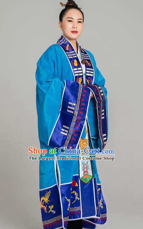 Traditional Chinese Taoist Nun Blue Koshibo Priest Frock Martial Arts Costumes China Taoism Tai Chi Garment Embroidered Pagoda Gown for Women