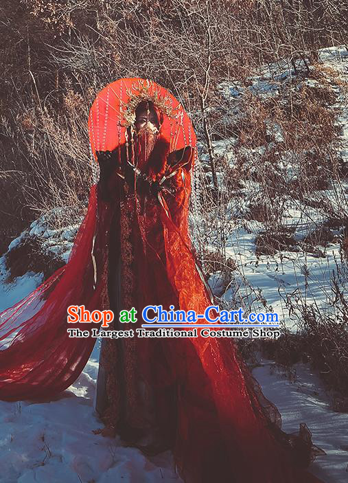 Top Chinese Cosplay Royal Highness Zhu Jiuyin Costume Ancient Swordsman Wedding Red Clothing for Men