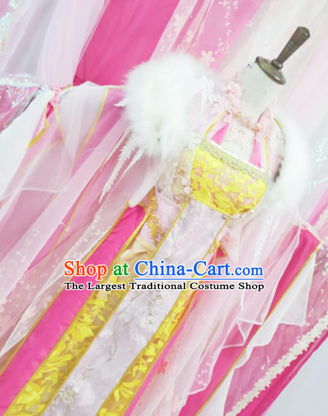 Chinese Traditional Cosplay Princess Consort Qu Xiaofeng Hanfu Dress Costumes Ancient Goddess Apparels for Women