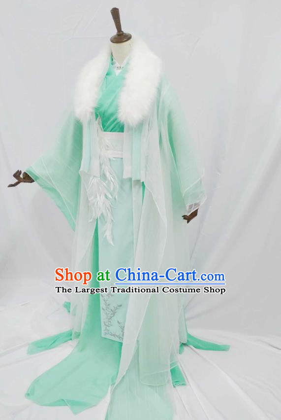 Top Chinese Cosplay Prince Noble Childe Costume Ancient Swordsman Green Clothing for Men