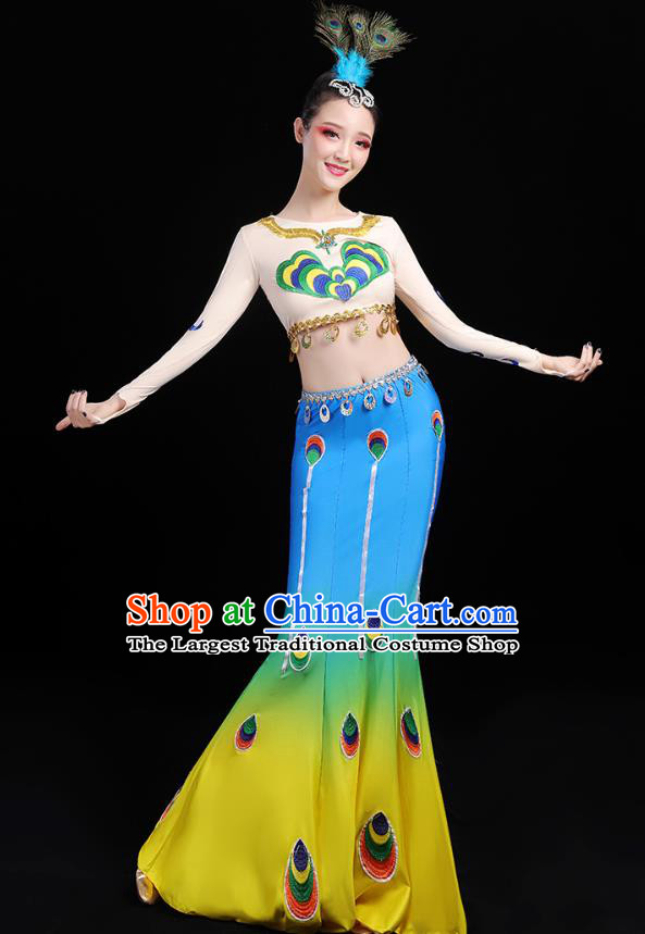 Chinese Traditional Dai Ethnic Dance Costumes Folk Dance Apparels Minority Peacock Dance Blouse and Blue Skirt for Women