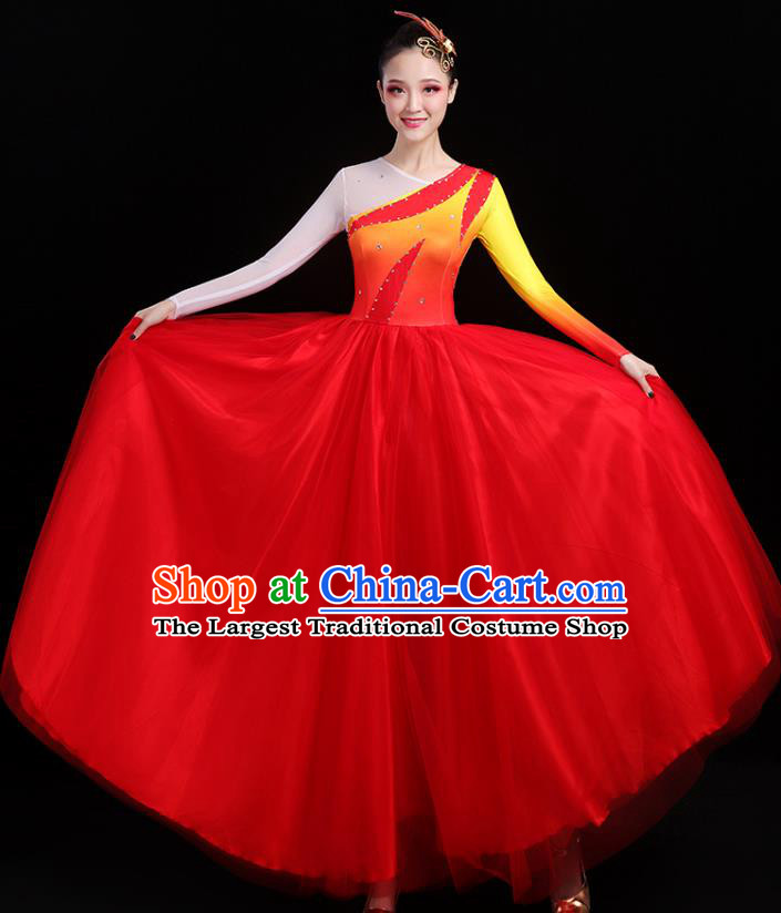 Traditional Chinese Modern Dance Costumes Opening Dance Stage Show Garment Chorus Group Red Veil Dress for Women