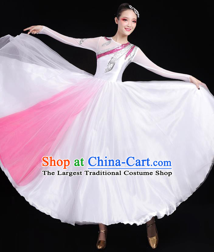 Traditional Chinese Modern Dance Costumes Opening Dance Stage Show Garment Chorus Group Veil Dress for Women