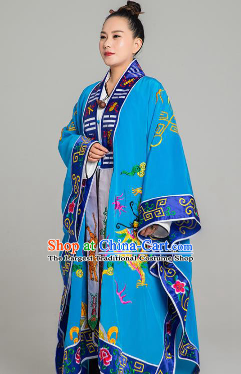 Traditional Chinese Embroidered Dragon Blue Gown Taoist Nun Koshibo Priest Frock Martial Arts Costumes China Taoism Tai Chi Garment for Women