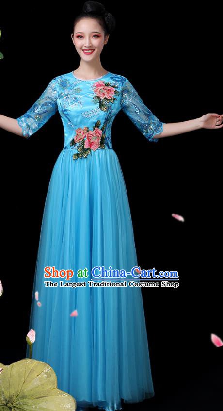 Traditional Chinese Chorus Costumes Stage Show Modern Dance Garment Opening Dance Blue Veil Dress for Women