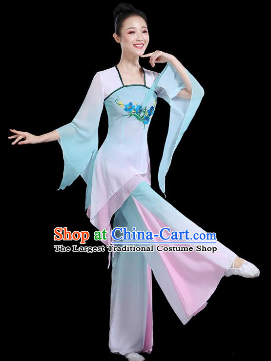 Traditional Chinese Fan Dance Costumes Stage Show Classical Dance Garment Umbrella Dance Blue Blouse and Pants for Women