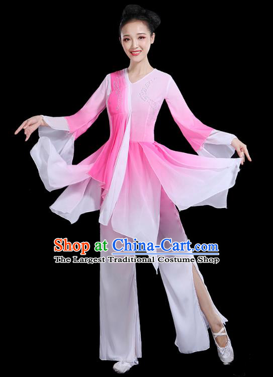 Traditional Chinese Fan Dance Costumes Stage Show Classical Dance Garment Umbrella Dance Pink Blouse and Pants for Women