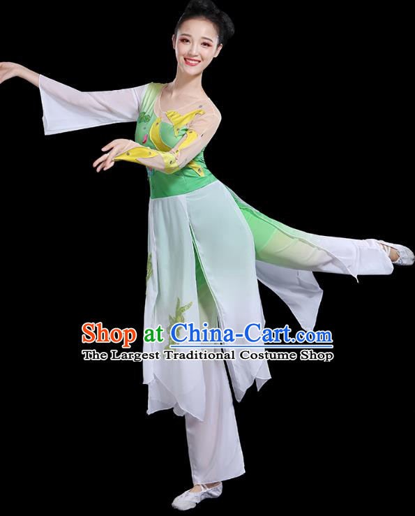 Traditional Chinese Fan Dance Costumes Stage Show Classical Dance Garment Umbrella Dance Green Blouse and Pants for Women