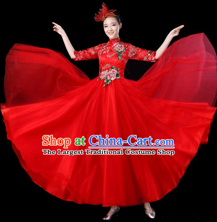 Traditional Chinese Opening Dance Costumes Stage Show Modern Dance Garment Folk Dance Red Dress for Women
