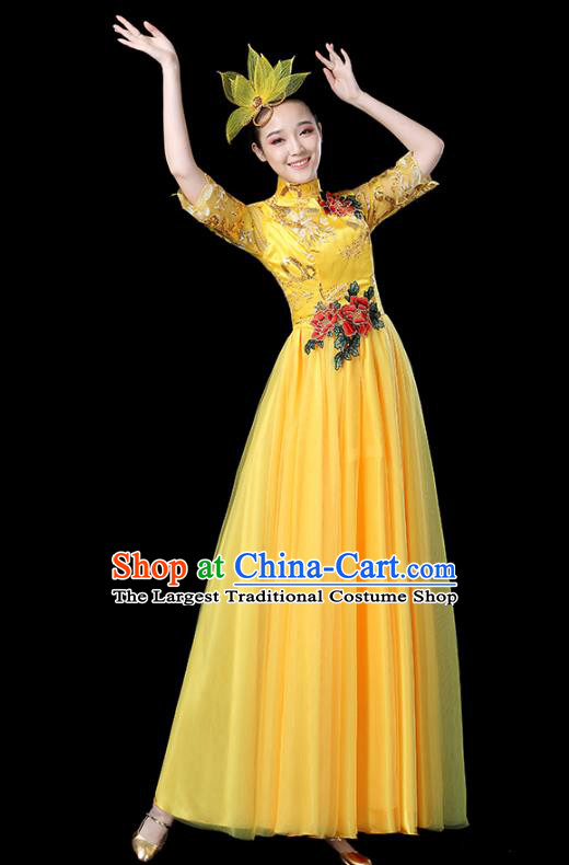 Traditional Chinese Opening Dance Costumes Stage Show Modern Dance Garment Folk Dance Yellow Dress for Women