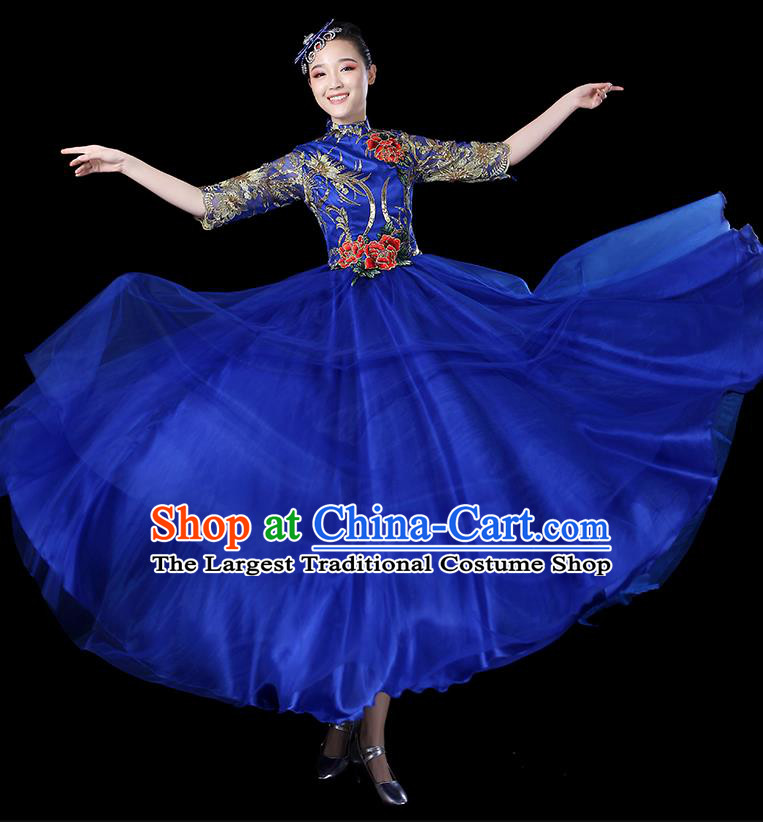 Traditional Chinese Opening Dance Costumes Stage Show Modern Dance Garment Folk Dance Royalblue Dress for Women