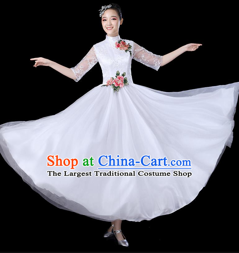 Traditional Chinese Opening Dance Costumes Stage Show Modern Dance Garment Folk Dance White Dress for Women