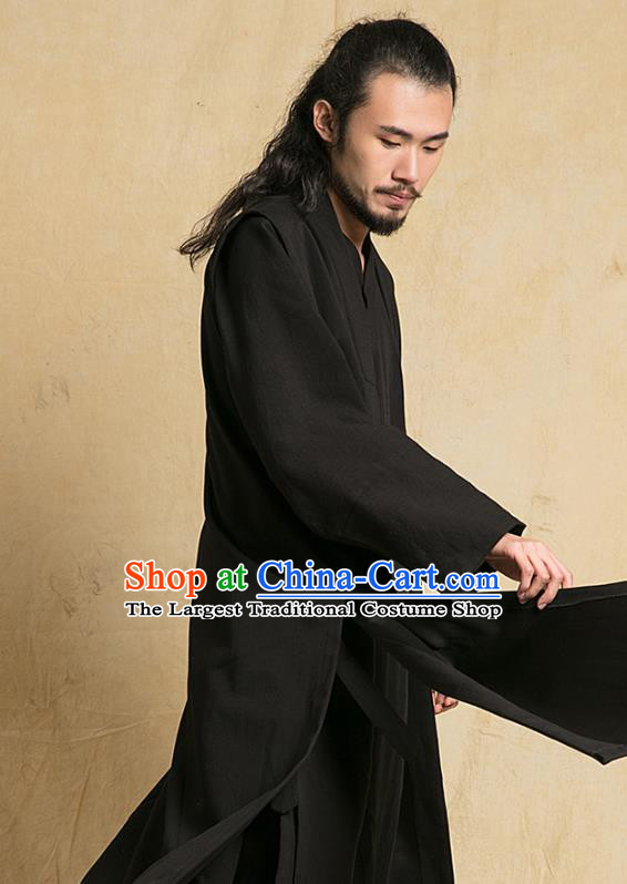 Top Grade Chinese Taoist Uniforms Kung Fu Martial Arts Competition Costume Shaolin Gongfu Black Flax Cape Blouse and Pants for Men