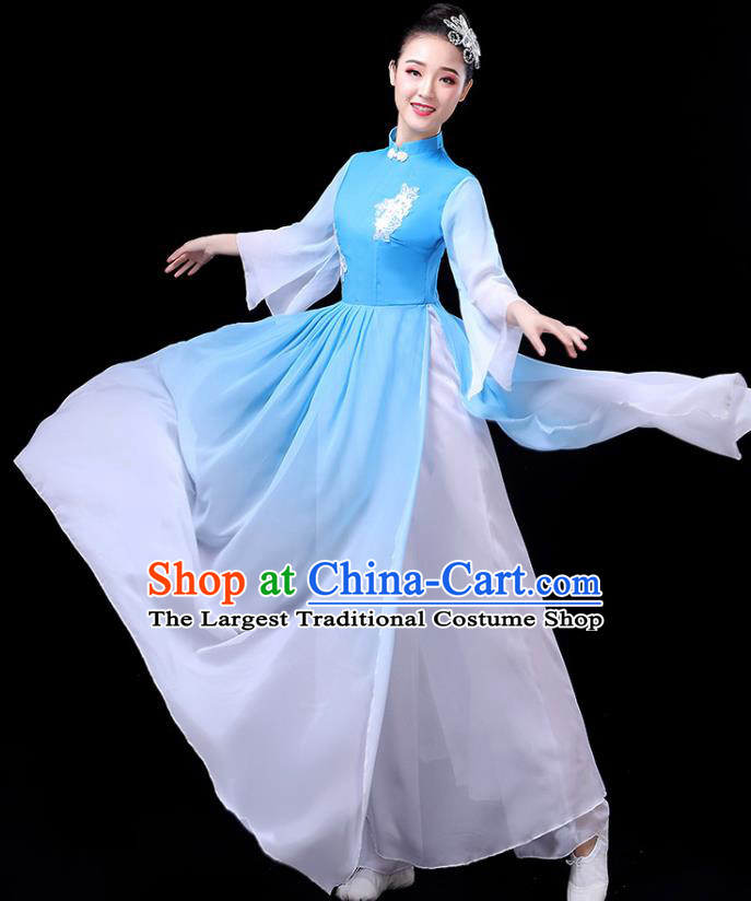 Traditional Chinese Umbrella Dance Costumes Stage Show Fan Dance Garment Classical Dance Light Blue Dress for Women