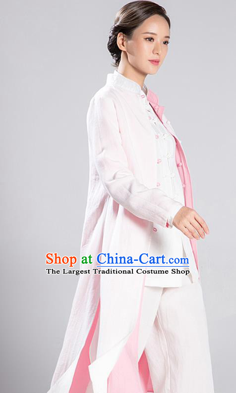 Traditional Chinese Tang Suit Reversible Dust Coat Costumes China Martial Arts Flax Garment White and Pink Overcoat for Women