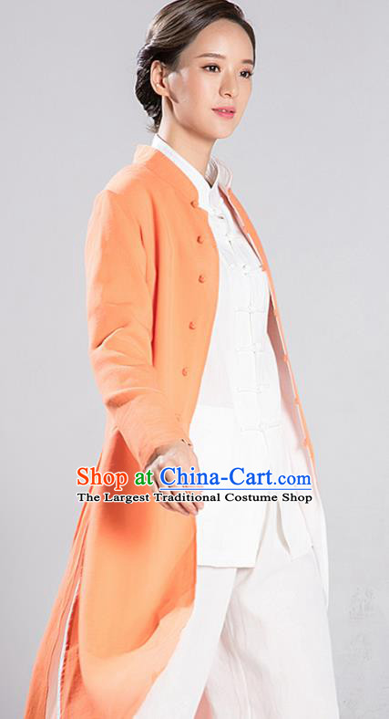 Traditional Chinese Tang Suit Reversible Dust Coat Costumes China Martial Arts Flax Garment White and Orange Overcoat for Women