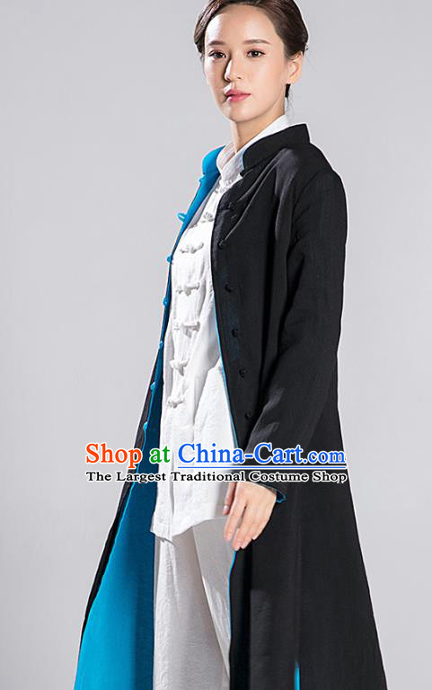 Traditional Chinese Tang Suit Reversible Dust Coat Costumes China Martial Arts Flax Garment Black and Blue Overcoat for Women