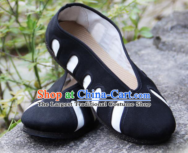 Traditional Chinese Taoist Shoes China Martial Arts Cloth Shoes Black Taoism Shoes for Adults