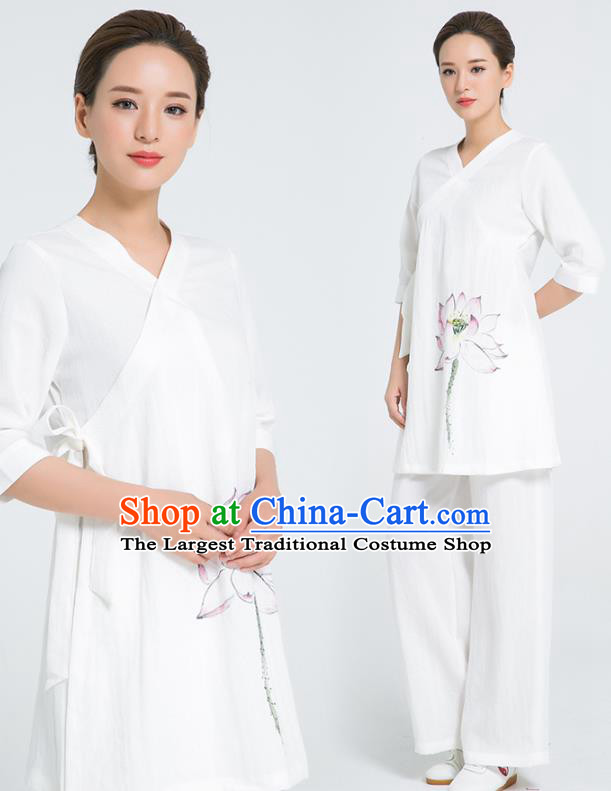 Professional Chinese Hand Painting Lotus White Flax Blouse and Pants Kung Fu Costumes Tai Chi Training Garment Outfits for Women