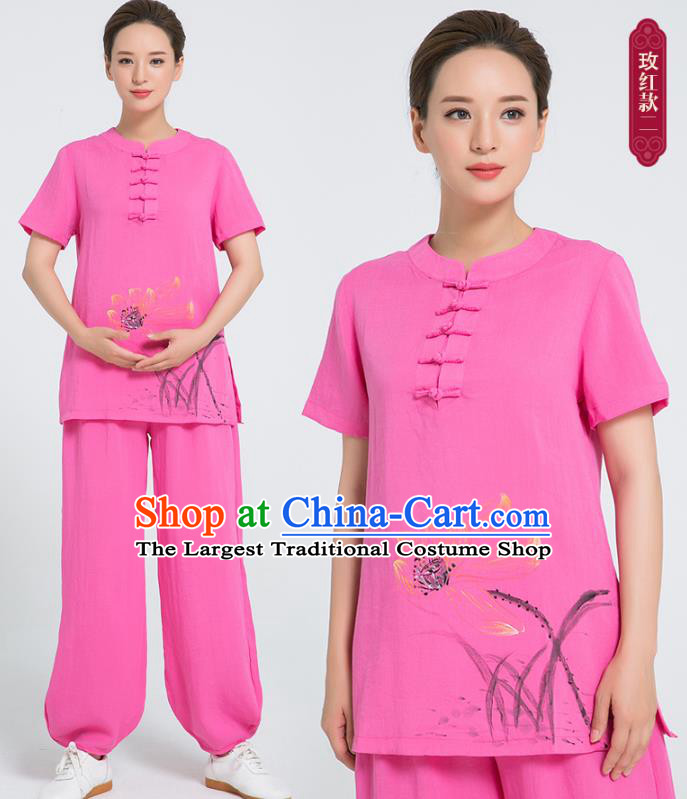Professional Chinese Tai Chi Hand Painting Lotus Rosy Flax Blouse and Pants Costumes Kung Fu Training Garment Martial Arts Outfits for Women