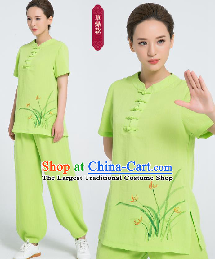 Professional Chinese Tai Chi Hand Painting Orchid Green Flax Blouse and Pants Costumes Kung Fu Training Garment Martial Arts Outfits for Women