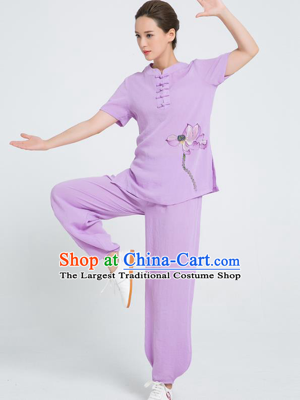Professional Chinese Tai Chi Hand Painting Lotus Violet Flax Blouse and Pants Costumes Kung Fu Training Garment Martial Arts Outfits for Women