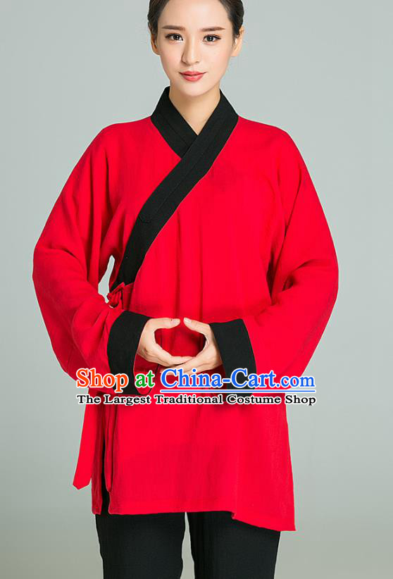 Professional Chinese Tai Chi Training Red Flax Blouse and Black Pants Costumes Kung Fu Garment Martial Arts Outfits for Women