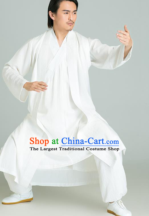 Top Grade Chinese Tai Chi Training White Uniforms Kung Fu Competition Costume Martial Arts White Vest Shirt and Pants for Men